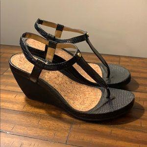 Chaps Black Thong Wedge Sandals
